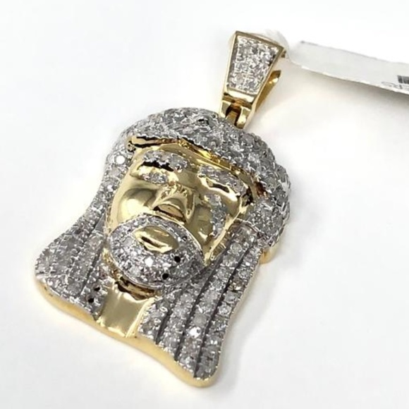 Other - 10K Yellow Gold Icy CZ Jesus Pendant